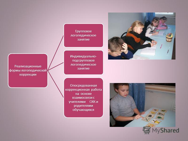 Реализационные формы логопедической коррекции Групповое логопедическое занятие Индивидуально- подгрупповое логопедическое занятие Опосредованная коррекционная работа на основе взаимосвязи с учителями СКК и родителями обучающихся