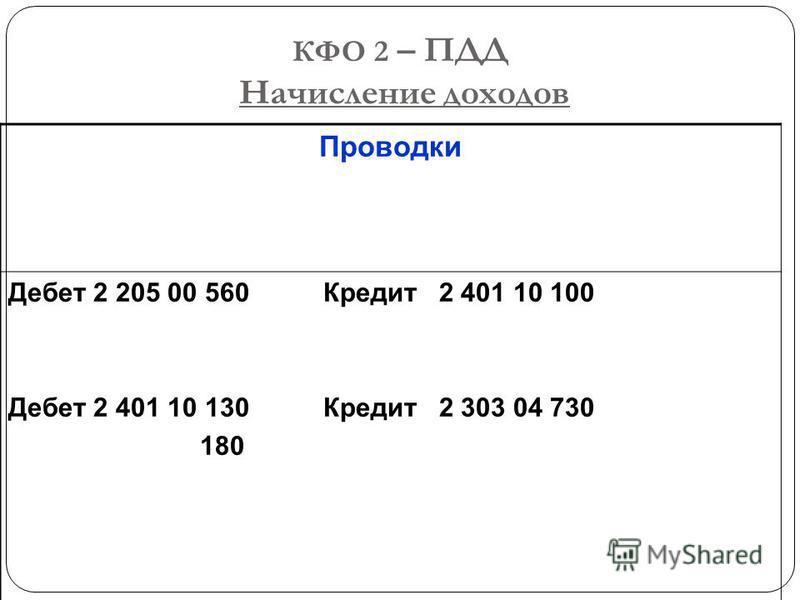 КФО 2 – ПДД Начисление доходов Проводки Дебет 2 205 00 560 Кредит 2 401 10 100 Дебет 2 401 10 130 Кредит 2 303 04 730 180