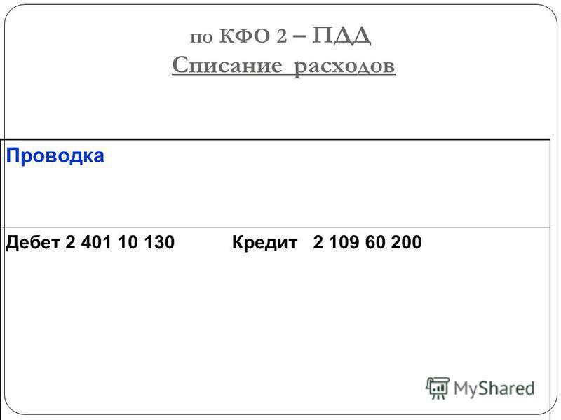 по КФО 2 – ПДД Списание расходов Проводка Дебет 2 401 10 130 Кредит 2 109 60 200