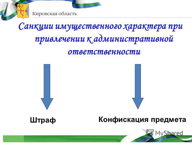 Санкции имущественного характера при привлечении к административной ответственности Штраф Конфискация предмета