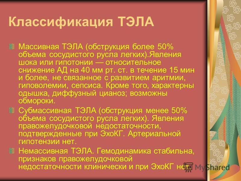 Классификация ТЭЛА Массивная ТЭЛА (обструкция более 50% объема сосудистого русла легких).Явления шока или гипотонии относительное снижение АД на 40 мм рт. ст. в течение 15 мин и более, не связанное с развитием аритмии, гиповолемии, сепсиса. Кроме тог