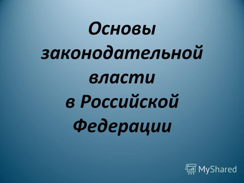 Основы законодательной власти в Российской Федерации