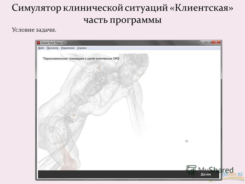 Симулятор клинической ситуаций «Клиентская» часть программы Условие задачи.
