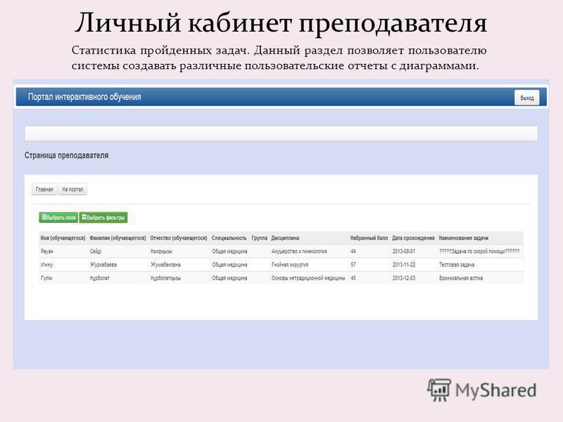 Личный кабинет преподавателя Статистика пройденных задач. Данный раздел позволяет пользователю системы создавать различные пользовательские отчеты с диаграммами.