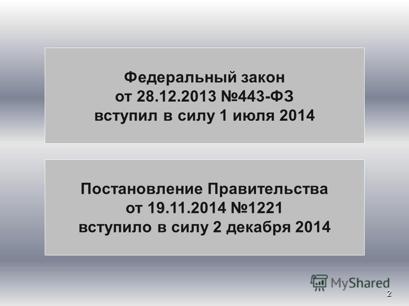 2 Федеральный закон от 28.12.2013 443-ФЗ вступил в силу 1 июля 2014 Постановление Правительства от 19.11.2014 1221 вступило в силу 2 декабря 2014