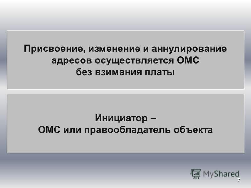 7 Присвоение, изменение и аннулирование адресов осуществляется ОМС без взимания платы Инициатор – ОМС или правообладатель объекта