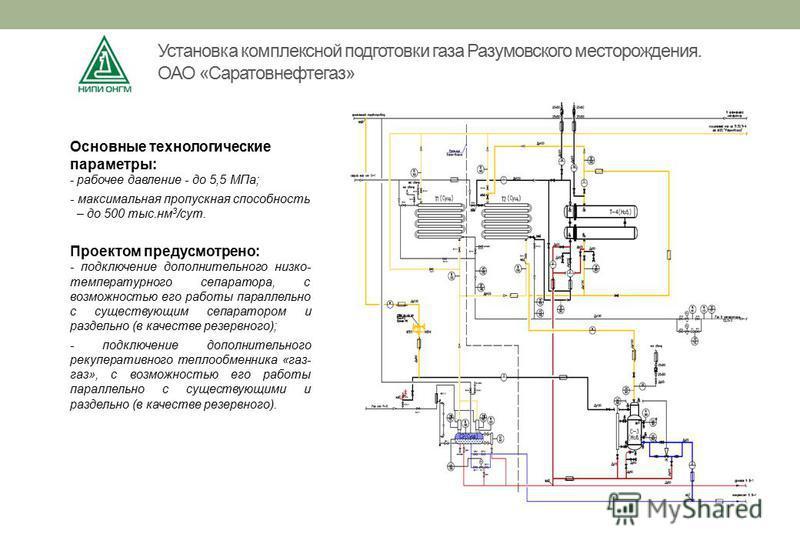Основные технологические параметры: - рабочее давление - до 5,5 МПа; - максимальная пропускная способность – до 500 тыс.нм 3 /сут. Проектом предусмотрено: - подключение дополнительного низко- температурного сепаратора, с возможностью его работы парал