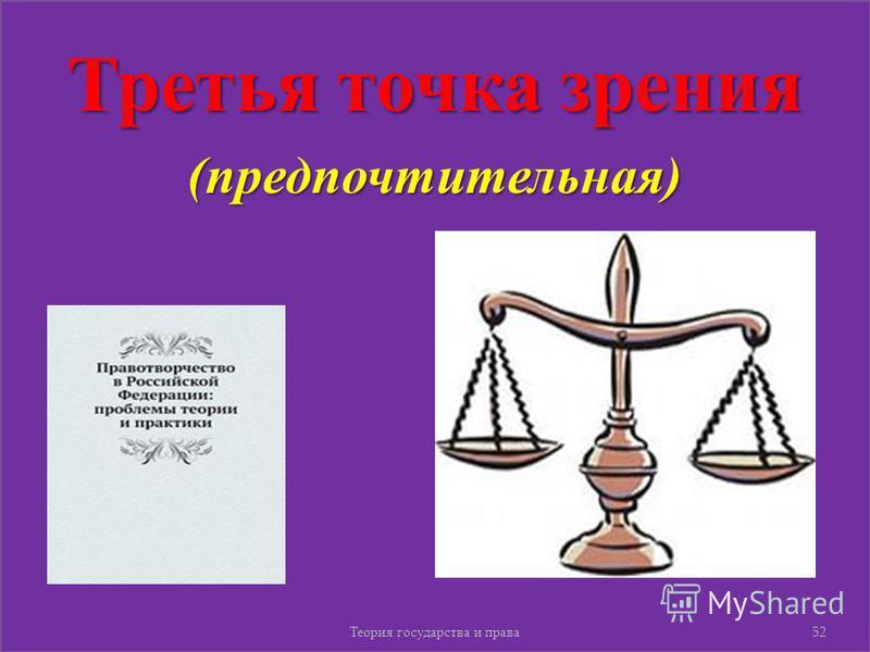 Третья точка зрения (предпочтительная) Теория государства и права 52