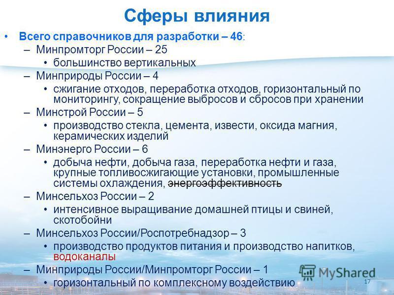 Сферы влияния Всего справочников для разработки – 46 : –Минпромторг России – 25 большинство вертикальных –Минприроды России – 4 сжигание отходов, переработка отходов, горизонтальный по мониторингу, сокращение выбросов и сбросов при хранении –Минстрой