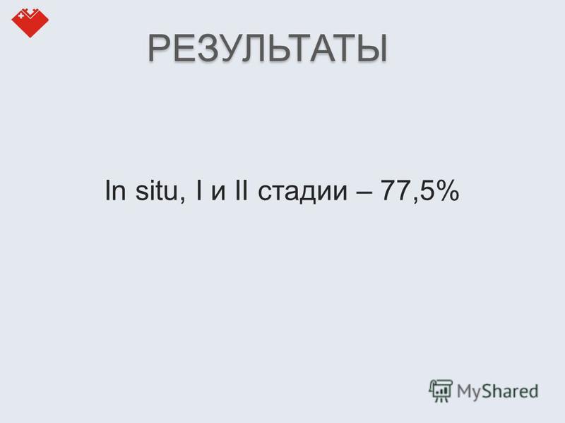 In situ, I и II стадии – 77,5% РЕЗУЛЬТАТЫ