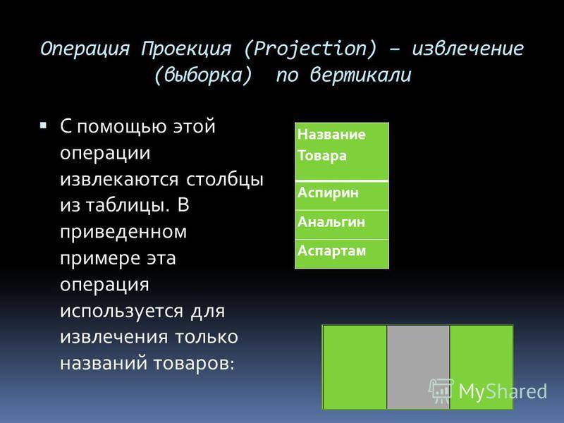 Операция Проекция (Projection) – извлечение (выборка) по вертикали С помощью этой операции извлекаются столбцы из таблицы. В приведенном примере эта операция используется для извлечения только названий товаров: Название Товара Аспирин Анальгин Аспарт