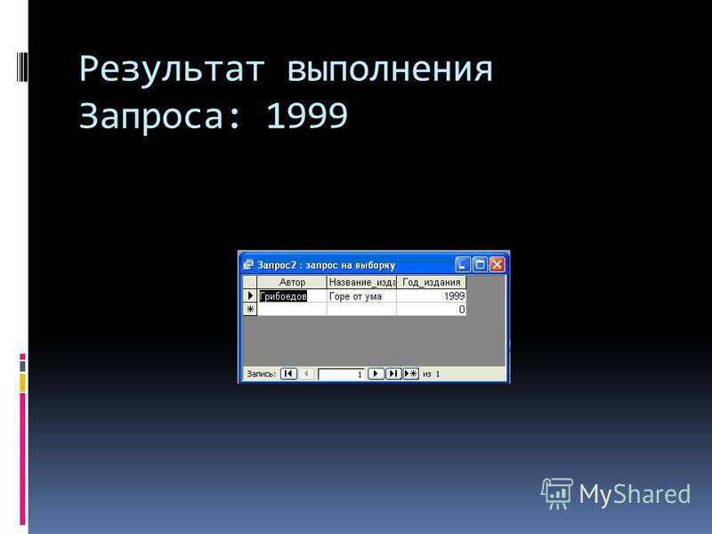 Результат выполнения Запроса: 1999