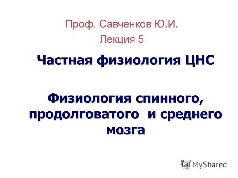 Проф. Савченков Ю.И. Лекция 5 Частная физиология ЦНС Физиология спинного, продолговатого и среднего мозга