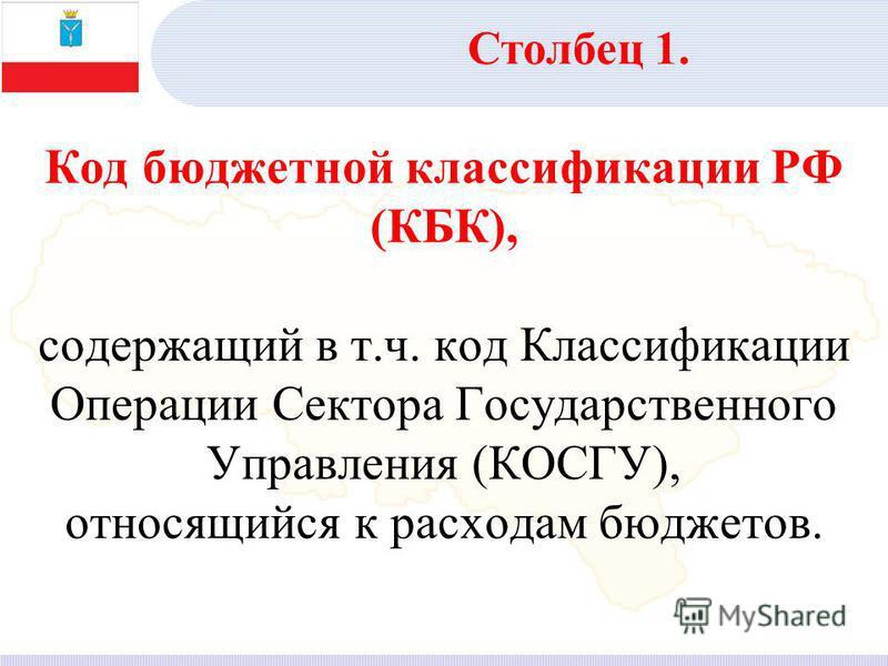 Код бюджетной классификации РФ (КБК), содержащий в т.ч. код Классификации Операции Сектора Государственного Управления (КОСГУ), относящийся к расходам бюджетов. Столбец 1.