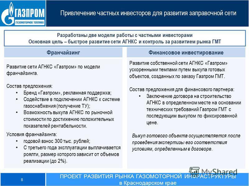 Привлечение частных инвесторов для развития заправочной сети Разработаны две модели работы с частными инвесторами Основная цель – быстрое развитие сети АГНКС и контроль за развитием рынка ГМТ Развитие собственной сети АГНКС «Газпром» ускоренными темп