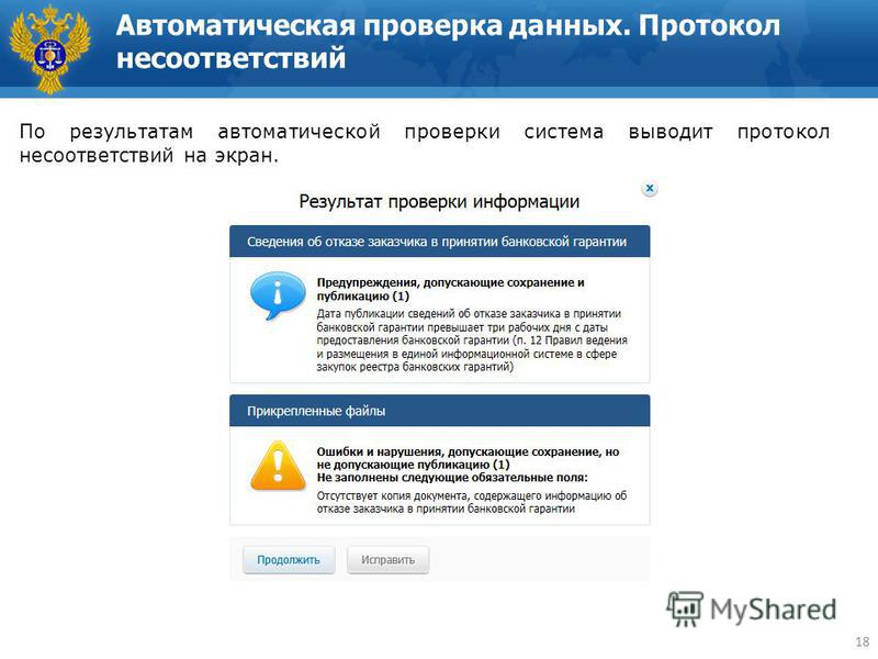 Автоматическая проверка данных. Протокол несоответствий 18 По результатам автоматической проверки система выводит протокол несоответствий на экран. 