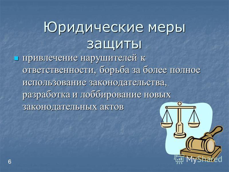 Юридические меры защиты привлечение нарушителей к ответственности, борьба за более полное использование законодательства, разработка и лоббирование новых законодательных актов привлечение нарушителей к ответственности, борьба за более полное использо