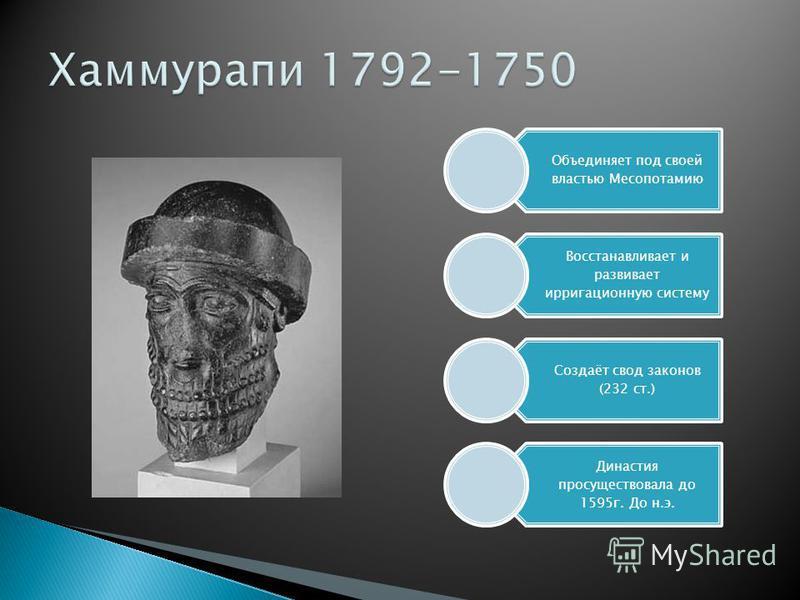 Объединяет под своей властью Месопотамию Восстанавливает и развивает ирригационную систему Создаёт свод законов (232 ст.) Династия просуществовала до 1595 г. До н.э.
