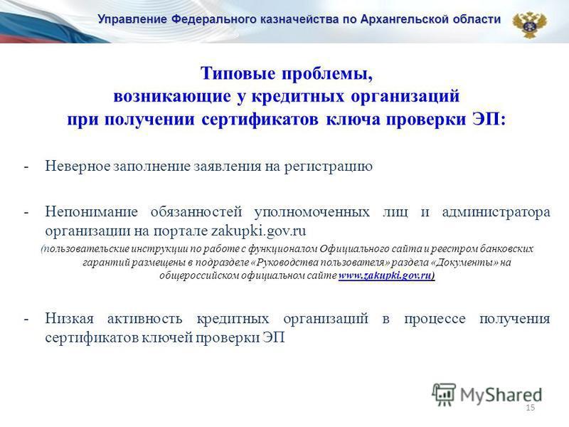 15 Типовые проблемы, возникающие у кредитных организаций при получении сертификатов ключа проверки ЭП: -Неверное заполнение заявления на регистрацию -Непонимание обязанностей уполномоченных лиц и администратора организации на портале zakupki.gov.ru (