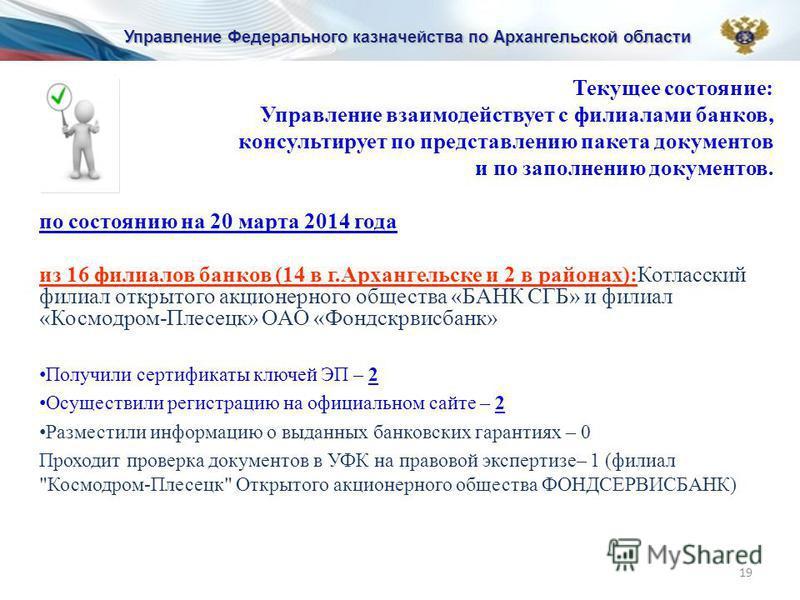 Текущее состояние: Управление взаимодействует с филиалами банков, консультирует по представлению пакета документов и по заполнению документов. по состоянию на 20 марта 2014 года из 16 филиалов банков (14 в г.Архангельске и 2 в районах):Котласский фил
