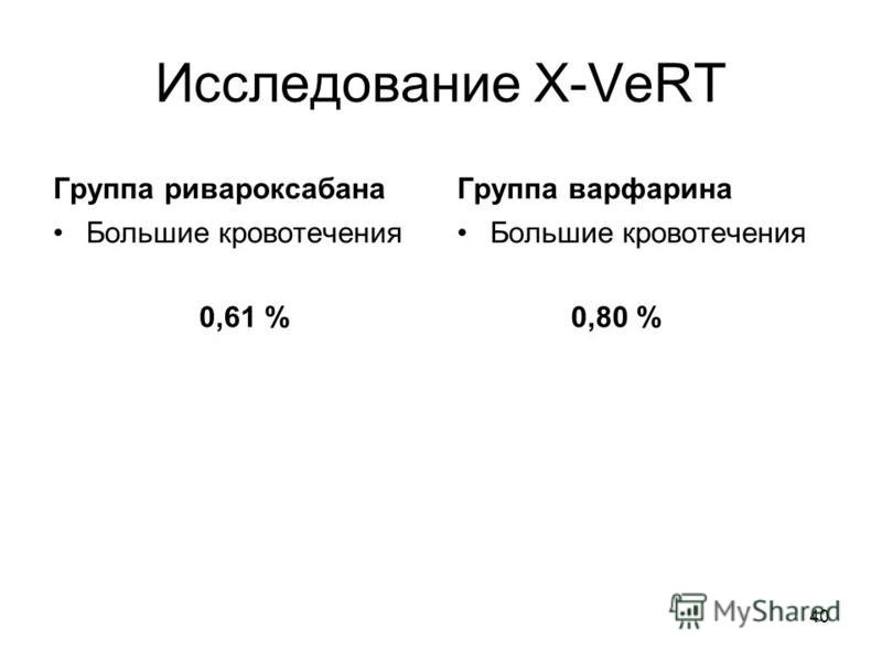 Исследование X-VeRT Группа ривароксабана Большие кровотечения 0,61 % Группа варфарина Большие кровотечения 0,80 % 40