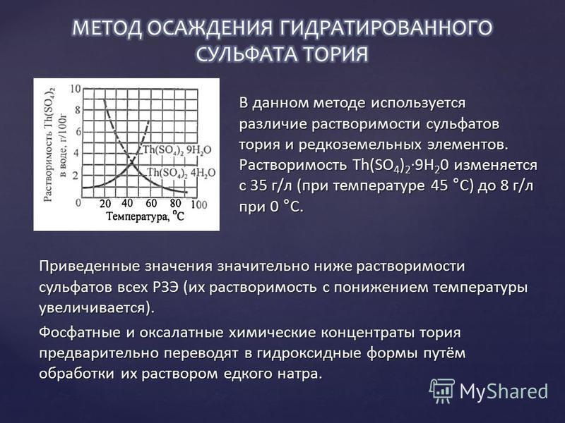В данном методе используется различие растворимости сульфатов тория и редкоземельных элементов. Растворимость Th(SО 4 ) 2 ·9Н 2 0 изменяется с 35 г/л (при температуре 45 °С) до 8 г/л при 0 °С. Приведенные значения значительно ниже растворимости сульф