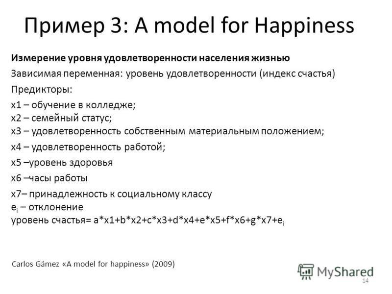 Пример 3: A model for Happiness 14 Измерение уровня удовлетворенности населения жизнью Зависимая переменная: уровень удовлетворенности (индекс счастья) Предикторы: х 1 – обучение в колледже; х 2 – семейный статус; х 3 – удовлетворенность собственным