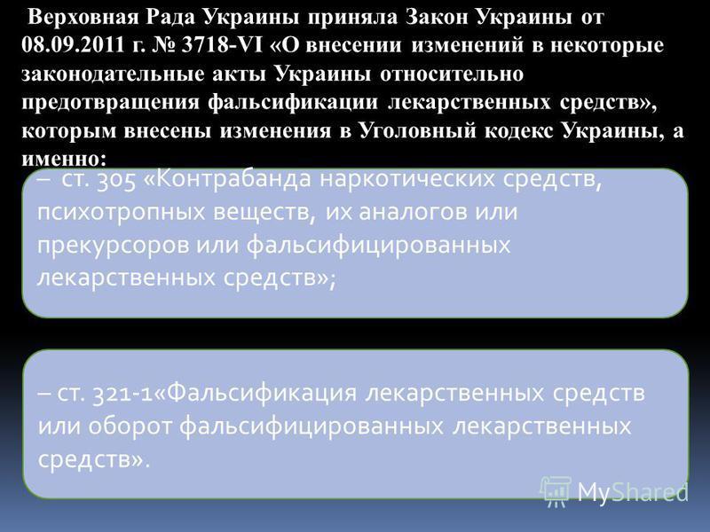 Верховная Рада Украины приняла Закон Украины от 08.09.2011 г. 3718-VI «О внесении изменений в некоторые законодательные акты Украины относительно предотвращения фальсификации лекарственных средств», которым внесены изменения в Уголовный кодекс Украин