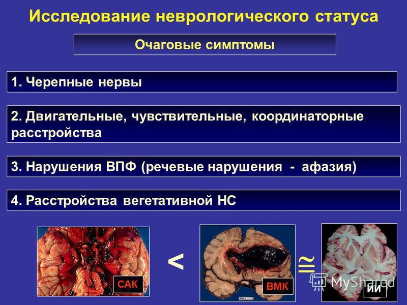Исследование неврологического статуса 1. Черепные нервы Очаговые симптомы 2. Двигательные, чувствительные, координаторные расстройства 3. Нарушения ВПФ (речевые нарушения - афазия) САК ИИ ВМК < 4. Расстройства вегетативной НС