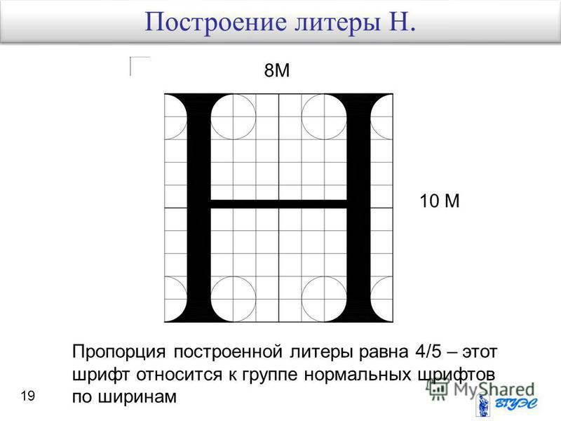 19 8М 10 М Пропорция построенной литеры равна 4/5 – этот шрифт относится к группе нормальных шрифтов по ширинам Построение литеры Н.