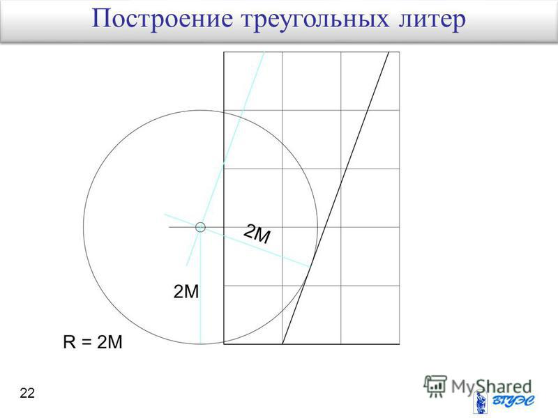 22 R = 2M 2M Построение треугольных литер