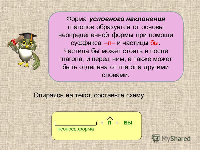 Форма условного наклонения глаголов образуется от основы неопределенной формы при помощи суффикса –л– и частицы бы. Частица бы может стоять и после глагола, и перед ним, а также может быть отделена от глагола другими словами. Опираясь на текст, соста