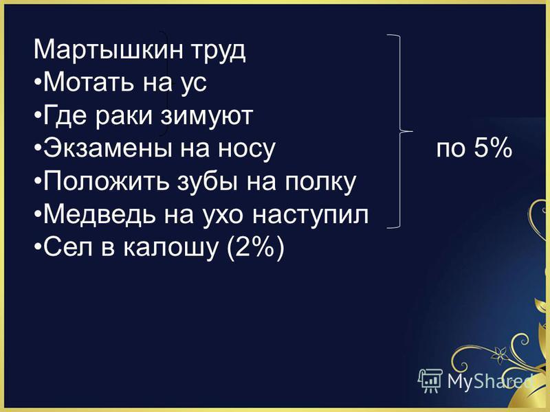 Мартышкин труд Мотать на ус Где раки зимуют Экзамены на носу по 5% Положить зубы на полку Медведь на ухо наступил Сел в калошу (2%)