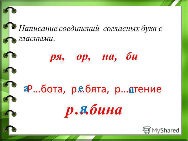 Написание соединений согласных букв с гласными. ря, ор, на, би Р…бота, р…бета, р…стение р…бина а е а я