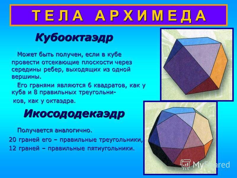 Т Е Л А А Р Х И М Е Д А Усеченный додекаэдр Может быть получен из додекаэдра отсечением углов плоскостями. Может быть получен из додекаэдра отсечением углов плоскостями. Усеченный икосаэдр В форме поверхности такого многогранника изготавливают поверх