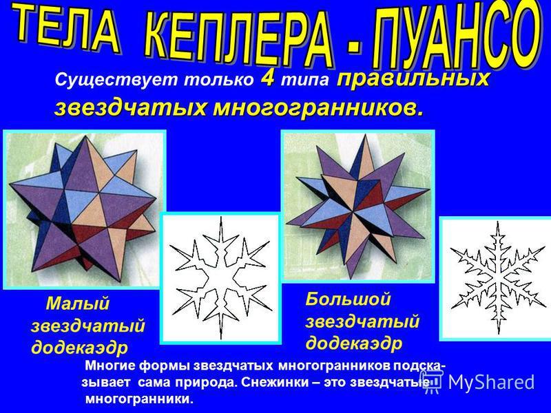 Имеют самые красивые формы. Имеют самые красивые формы. Первые два были открыты И.Кеплером, а два других почти 200 лет спустя построил Л.Пуансо (1777- 1859). Первые два были открыты И.Кеплером, а два других почти 200 лет спустя построил Л.Пуансо (177