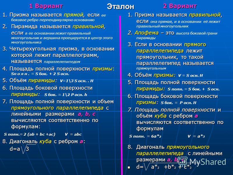 Ответы к задаче Ответы к задаче SS 1 = а 2 SS 1 = а 2 S полн. = 2a S полн. = 2a 2 3 V = a 3 3 2 2