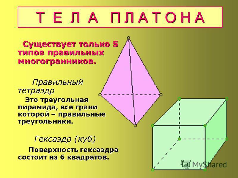 Правильные многогранники (Тела Платона) Правильные многогранники (Тела Платона) Правильные многогранники с древних времен привлекали к себе внимание ученых, строителей, архитекторов, поражая своей красотой, совершенством и гармонией. Правильные много