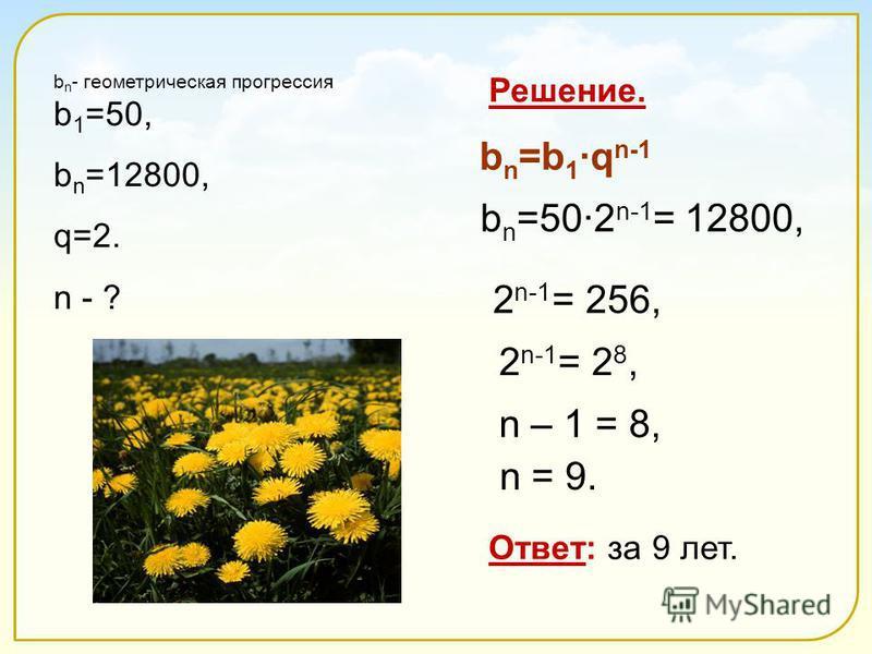 b n - геометрическая прогрессия b 1 =50, b n =12800, q=2. n - ? Ответ: за 9 лет. Решение. b n =50·2 n-1 = 12800, b n =b 1 ·q n-1 2 n-1 = 256, 2 n-1 = 2 8, n – 1 = 8, n = 9.