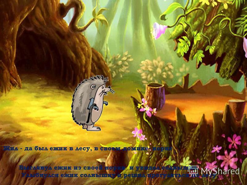 Жил - да был ежик в лесу, в своем домике- норке Выглянул ежик из своей норки и увидел солнышко. Улыбнулся ежик солнышку и решил прогуляться по лесу.