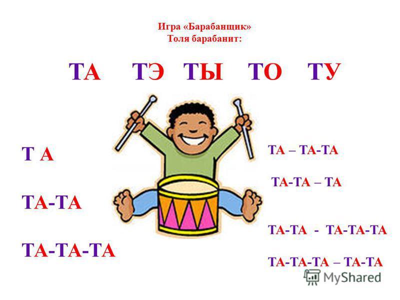 Игра «Барабанщик» Толя барабанит: ТА ТЭ ТЫ ТО ТУ ТА – ТА-ТА ТА-ТА – ТА ТА-ТА - ТА-ТА-ТА ТА-ТА-ТА – ТА-ТА Т А ТА-ТА ТА-ТА-ТА