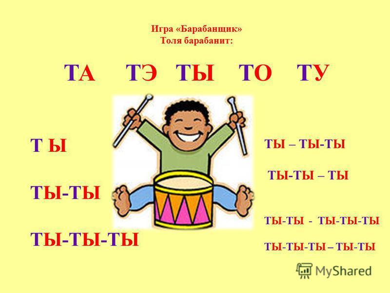 Игра «Барабанщик» Толя барабанит: ТА ТЭ ТЫ ТО ТУ Т Ы ТЫ-ТЫ ТЫ-ТЫ-ТЫ ТЫ – ТЫ-ТЫ ТЫ-ТЫ – ТЫ ТЫ-ТЫ - ТЫ-ТЫ-ТЫ ТЫ-ТЫ-ТЫ – ТЫ-ТЫ