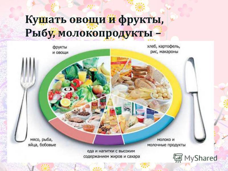 Кушать овощи и фрукты, Рыбу, молокопродукты –