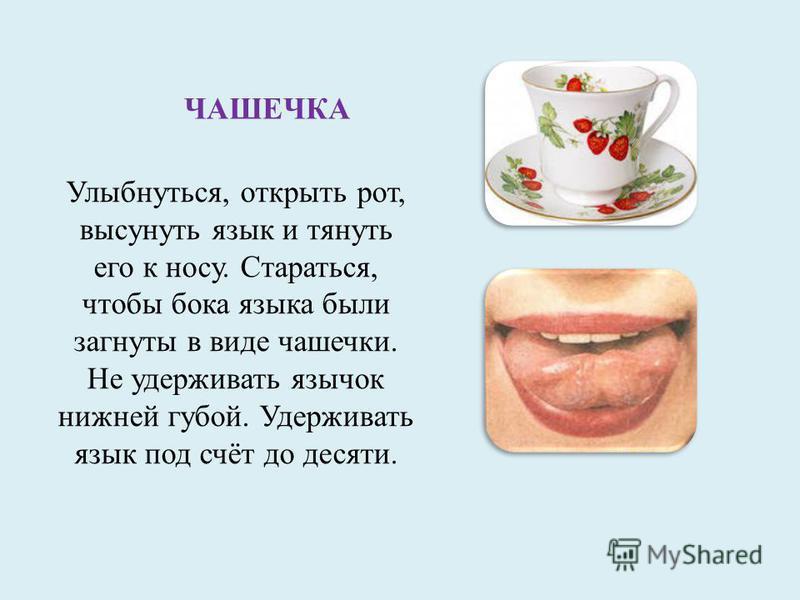 ЧАШЕЧКА Улыбнуться, открыть рот, высунуть язык и тянуть его к носу. Стараться, чтобы бока языка были загнуты в виде чашечки. Не удерживать язычок нижней губой. Удерживать язык под счёт до десяти.