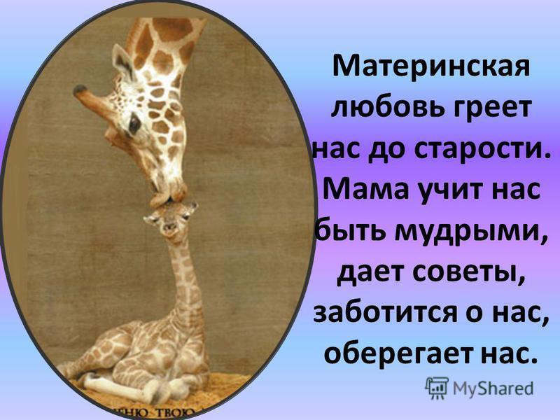 Материнская любовь греет нас до старости. Мама учит нас быть мудрыми, дает советы, заботится о нас, оберегает нас.
