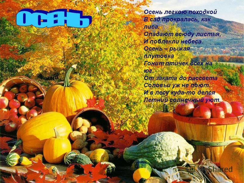 Осень легкою походкой В сад прокралась, как лиса. Опадают всюду листья, И поблекли небеса. Осень – рыжая плутовка Гонит птичек всех на юг. От заката до рассвета Соловьи уж не поют. И в лесу куда-то делся Летний солнечный уют.