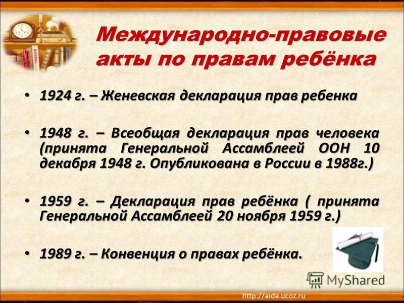Международно-правовые акты по правам ребёнка 1924 г. – Женевская декларация прав ребенка 1924 г. – Женевская декларация прав ребенка 1948 г. – Всеобщая декларация прав человека (принята Генеральной Ассамблеей ООН 10 декабря 1948 г. Опубликована в Рос
