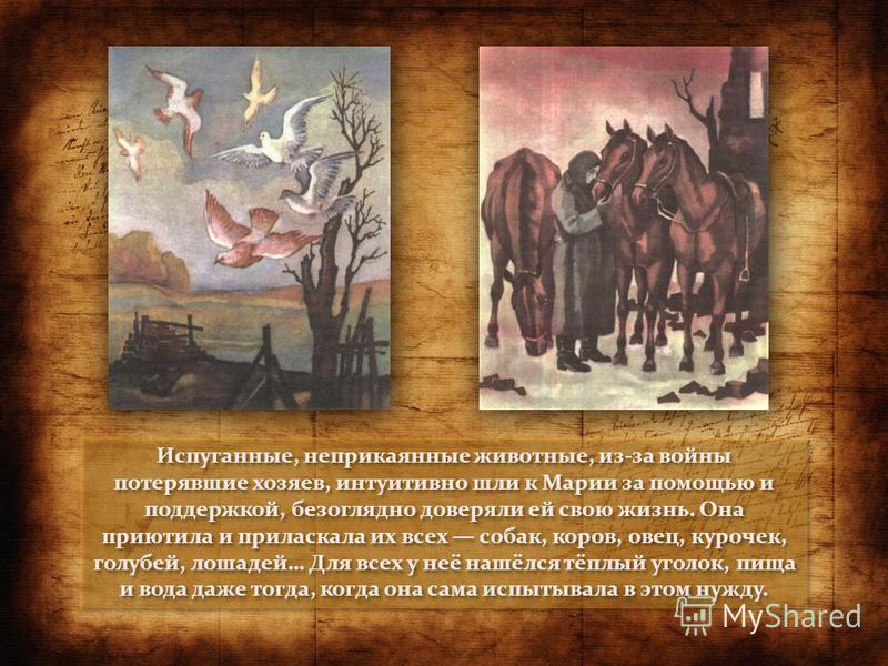 Испуганные, неприкаянные животные, из-за войны потерявшие хозяев, интуитивно шли к Марии за помощью и поддержкой, безоглядно доверяли ей свою жизнь. Она приютила и приласкала их всех собак, коров, овец, курочек, голубей, лошадей… Для всех у неё нашёл