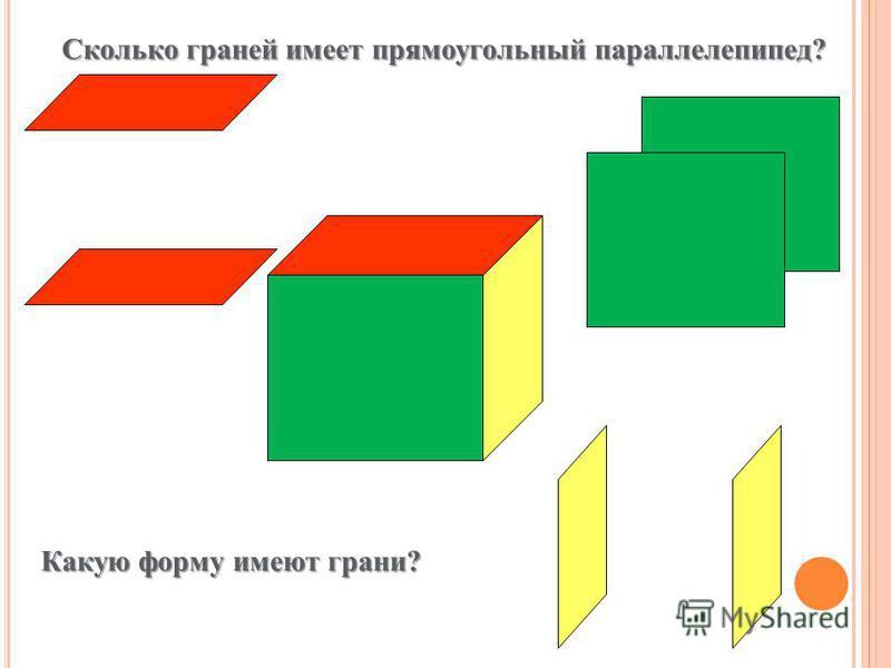 Сколько граней имеет прямоугольный параллелепипед? Какую форму имеют грани?