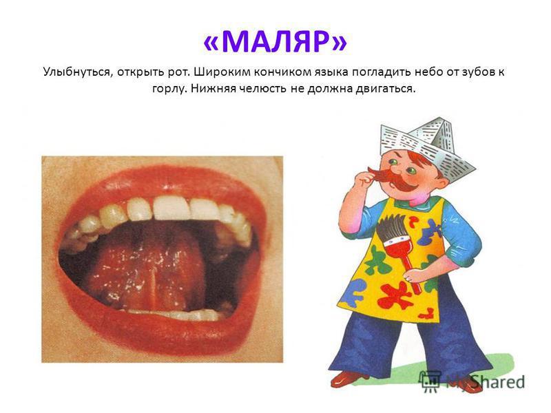 «МАЛЯР» Улыбнуться, открыть рот. Широким кончиком языка погладить небо от зубов к горлу. Нижняя челюсть не должна двигаться.